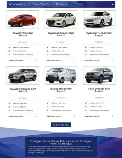 Car Rental Davao web design by 75 Social