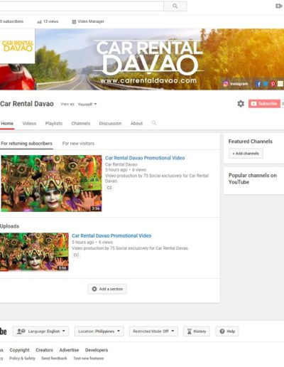 Car Rental Davao's YouTube channel by 75 Social